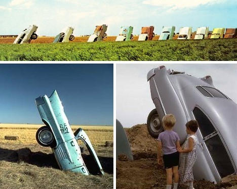 In 1974, 3 artists were in Potter County, Texas, burying ten Cadillacs, nose first, into a Texas wheat field alongside Interstate 40
