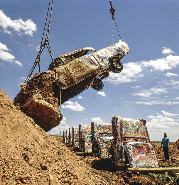 Cadillac Ranch was moved in 1997 from I-40 to a new spot two miles west along the interstate.