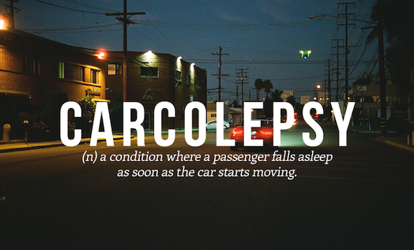 (n) a condition where a passenger falls a sleep as soon as the car starts moving
